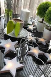 Lambax - Pilli Beyaz Ahşap Yıldız Dekoratif Ledli Süs Ip Led Işık Aydınlatma