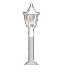 Lambax - Altıgen Plastik Direkli Bahçe Armatürü - Bahçe Lambası Beyaz