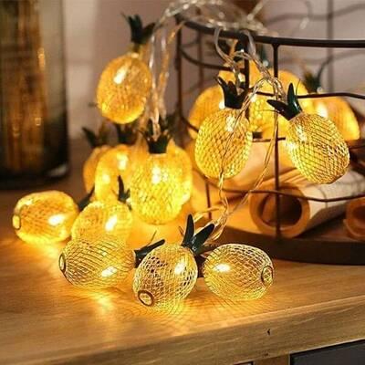 Dekoratif Pilli Ananaslı İp Led Işık - Yılbaşı Süs İp Led Işık