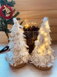 Lambax - Dekoratif Kuş Tüylü Yılbaşı Ağacı Ledli Işıklı Ağaç