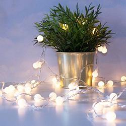 Lambax - Dekoratif Pilli Mini Ledli Top Süs İp Led Işık Aydınlatma Beyaz