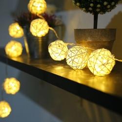 Lambax - Dekoratif Pilli Rattan Top İp Led Işık Orta