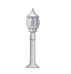 Lambax - Sekizgen Plastik Direkli Bahçe Armatürü - Bahçe Lambası Beyaz