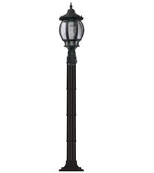 Lambax - Sekizgen Plastik Direkli Bahçe Armatürü - Bahçe Lambası Siyah